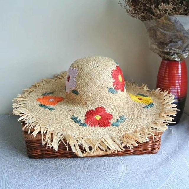 a16eff28c19 2018 Summer Floral Beach Women Embroidery Flower Handmade Raffia Cap  Wide-brimmed Sun Straw Hat