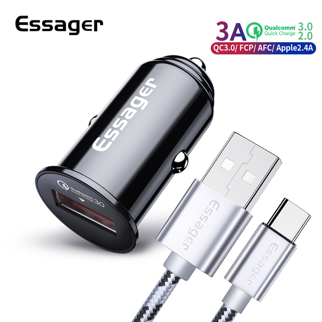 Cargador de coche Mini USB de carga rápida 3,0 QC3.0 2,0 para Samsung Xiaomi mi9 coche de carga rápida para iPhone móvil cargador de teléfono