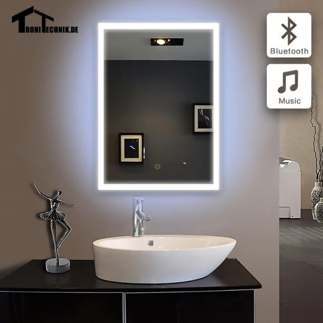 60x80 cm lumineux mur miroir bluetooth led salle de bains miroir bluetooth mur bain suspendu. Black Bedroom Furniture Sets. Home Design Ideas