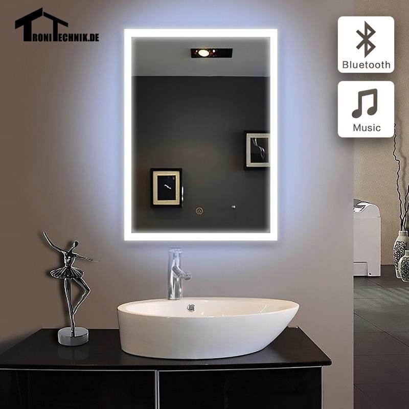 60x80 cm pared iluminada espejo Bluetooth LED baño espejo bluetooth ...