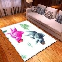 Nordic 3D Fisch Teppiche Cartoon Tier Schlafzimmer Kinder Spielen Matte Weiche Flanell Memory Schaum Großen Bereich Teppiche Teppich für Wohnzimmer zimmer-in Teppich aus Heim und Garten bei