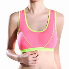 Sexy Women Sexy Seamless Bra Bras Yoga Fittness Top Padded Athletic Pink Lingerie Sports Solid Stretch Tank Up Push(China)