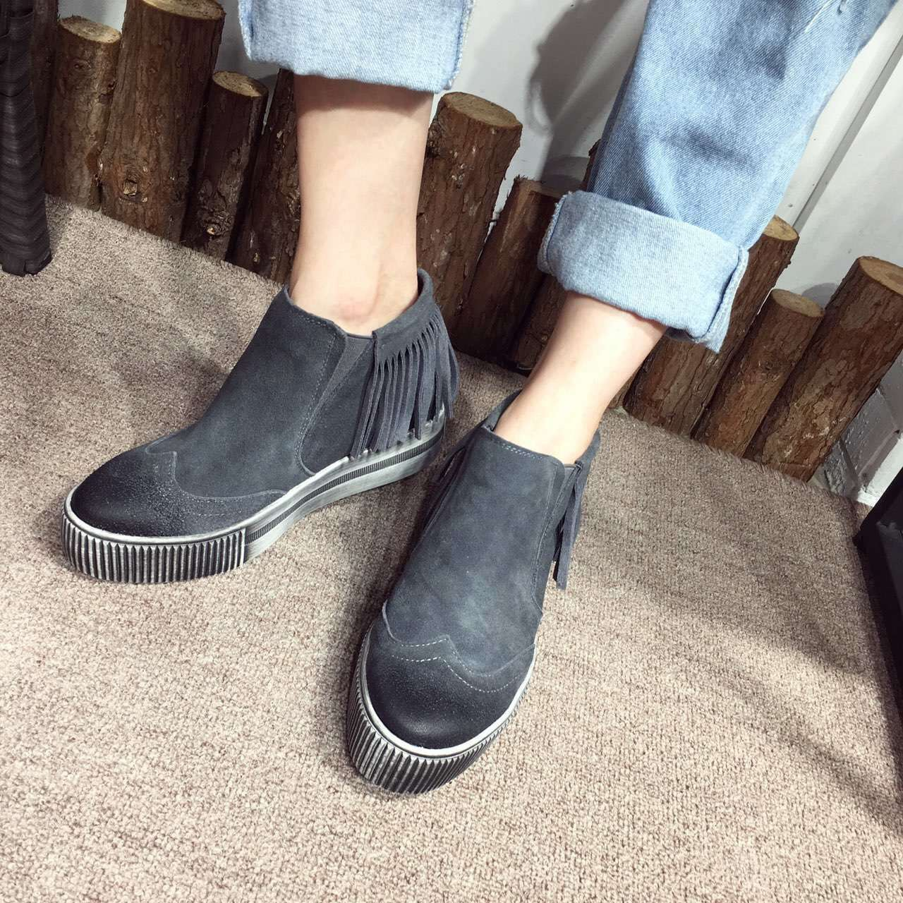 2016 New Winter Genuine Leather Suede Calfskin Tassel Short Boot Vintage Ankle Boots Shoes Woman Boots Bottes Hiver Femmes