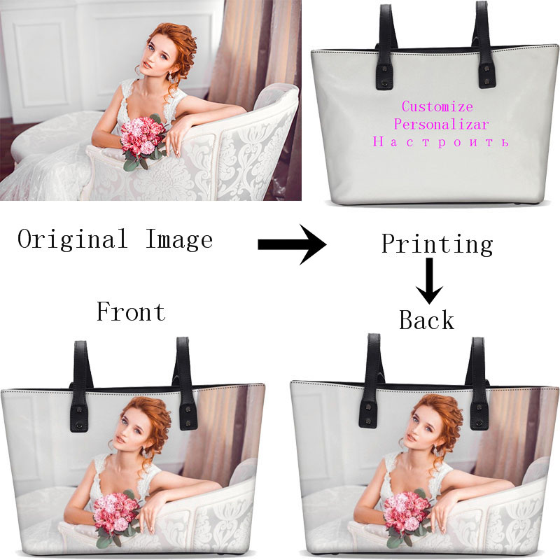 Personnalisé Votre Image Nom Logo sacs pour femmes De Mode Doux En Cuir Seau Sac fourre-tout sacs de postier sacs en bandoulière Sacs À Main Sac à Main