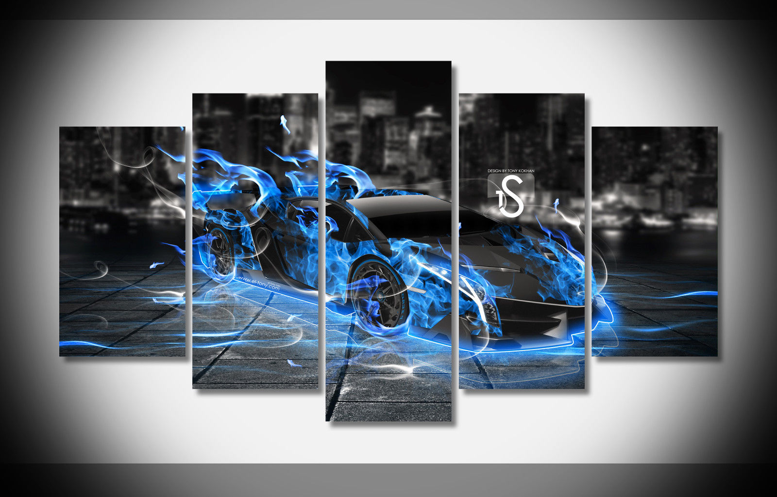 5 Panels Sports Car Poster Wall Art Picture for Living Room Home Decor (NO Framed)