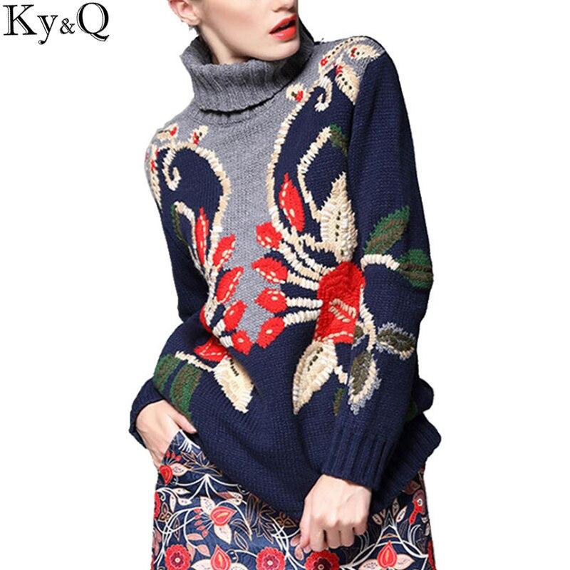 2018 invierno mujeres suéteres gruesos cuello alto jerseys tejidos Navidad mujer pasarela bordado floral Jumper ropa