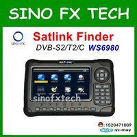 Бесплатная доставка оригинальный Satlink ws 6980 DVB S2 + DVB C + DVB T2 Combo 7 анализатор спектра Спутниковое Finder метр ws6980
