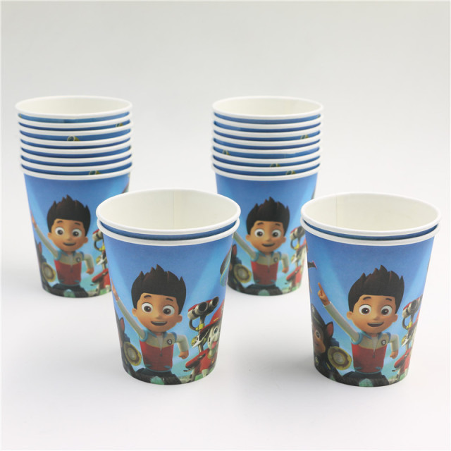 New Pawed Patrolling  Dog Disposable Paper Cups of Degradable Kids Boys Birthday Party Drinking Glasses Decoration 10pcs/Lot