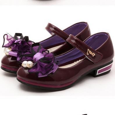 Sapatas das meninas primavera new purple cor única doces arco flor moda crianças princesa dança sapatos mocassin garcon enfant 802