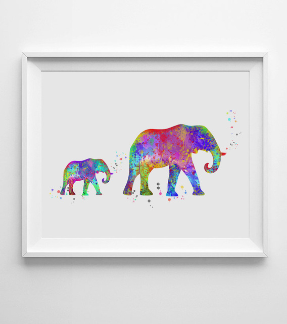 High Quality Elephant Art Print Watercolor Baby Elephant Wall Art Wall Hanging Nursery  Decor Paper Family Art Gift