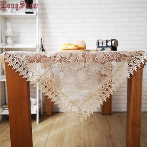 LongShow Light Coffee Organza Lace Embroidered Tablecloth