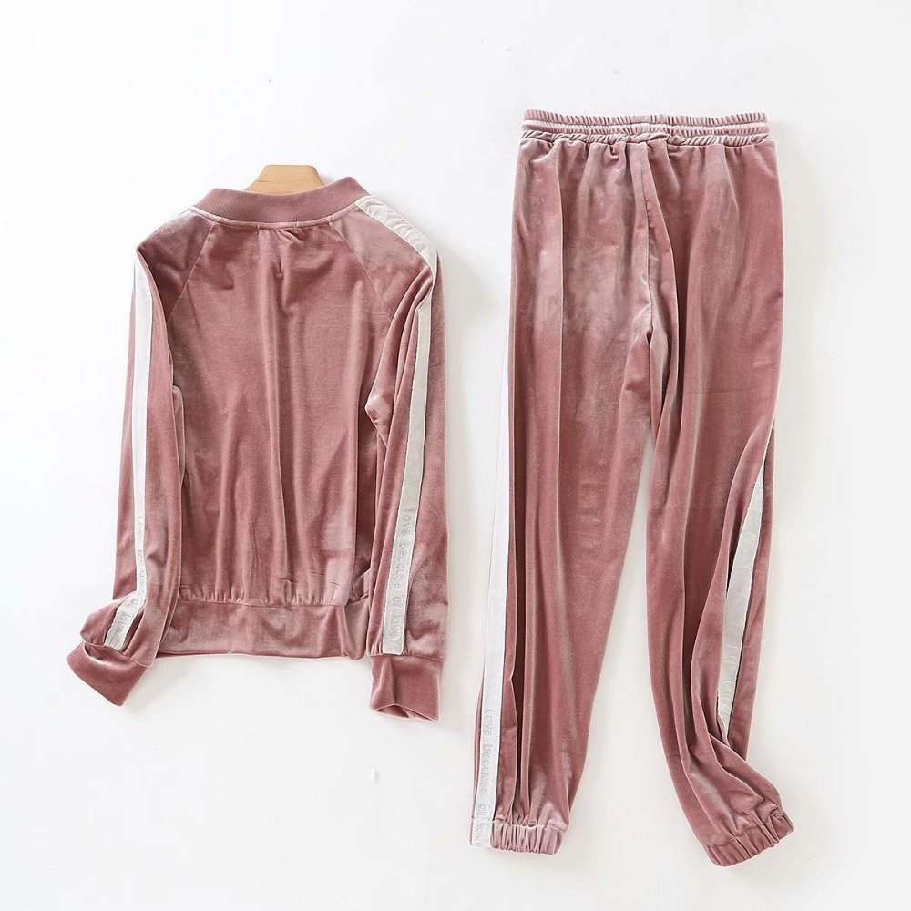 Velvet Tracksuit 2019 Spring Autumn Casual Two Piece Set Women Zipper Long Sleeve Bomber Jacket Embroidery Velour Pant Set Suit in Women 39 s Sets from Women 39 s Clothing