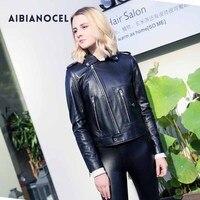 AIBIANOCEL Натуральная кожаные пальто Для женщин Байкерская кожаная куртка дубленка натуральная кожа куртка черный, красный S 4XL