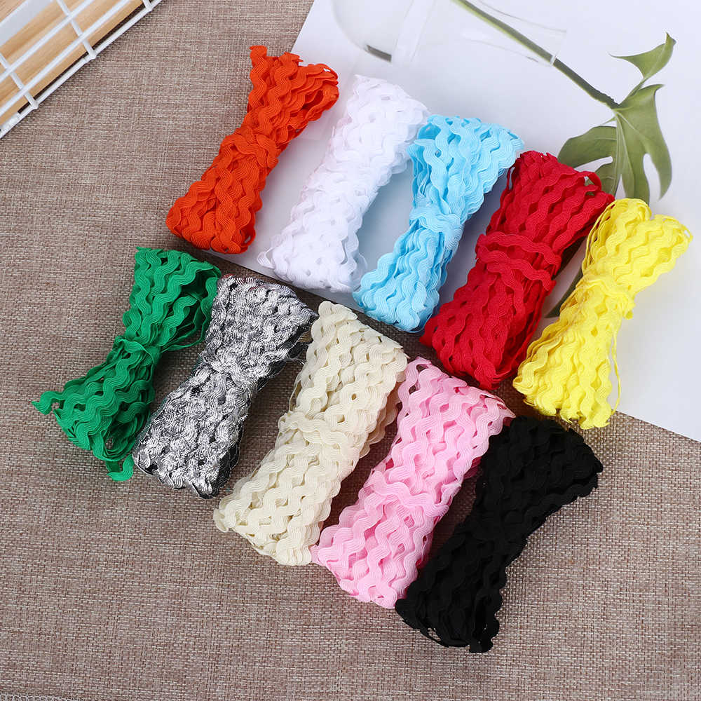 25M/set S-shape Edge Waves Lace Zigzag Trim Ribbon Colorful Grosgrain for Handmade Hair Bow Wedding Party DIY Decoration Craft