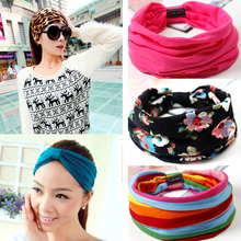 Floral Print Turban Knot Headwrap Sports Elastic yoga Hairband Fashion Cotton Fabric Wide headband For Women