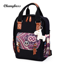 Национальный женщины рюкзак моды большой Ёмкость молния девушки школьный рюкзак холст Школьные ранцы для подростков Mochila Escolar