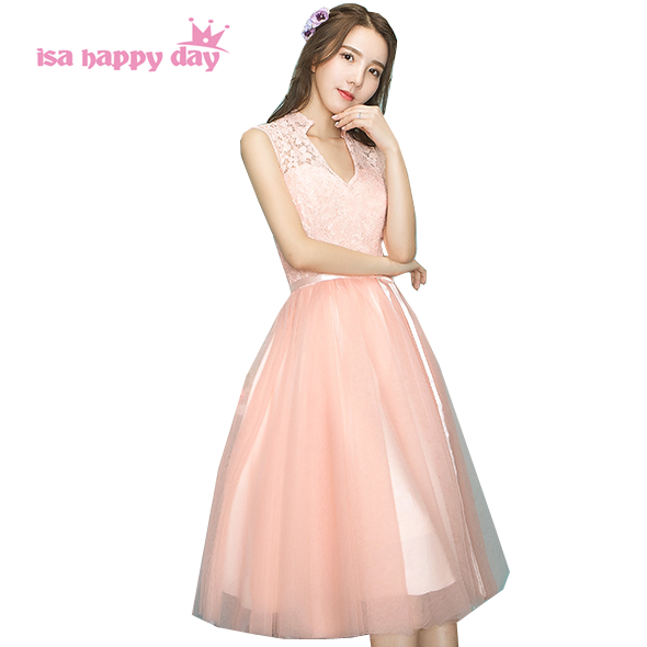 women peach color tulle tea length ball gown ladies modest formal ...