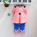 2016 New Christmas red Infants baby Cotton clothing girls tracksuits cartoon Coat+ pants 2pcs kids clothes Children clothing set