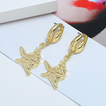 HOCOLE New Metal Shell Drop Earrings For Women Vintage Long Starfish Dangle Earring gold Jewelry Wedding Beach Holiday Girls2019