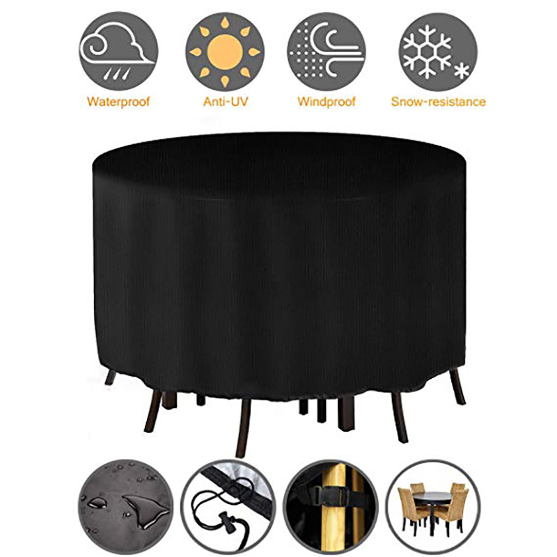 Garden Furniture Cover Round Garden Table Cover 420D Heavy Duty Oxford With 2 Windproof Buckles Waterproof Windproof Anti-UV