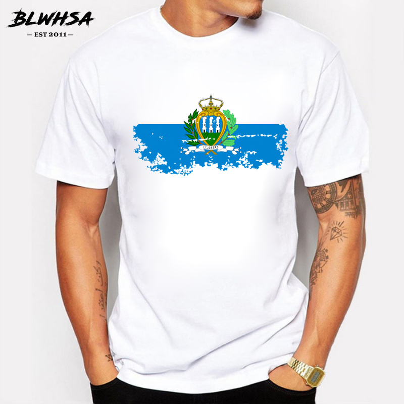 BLWHSA New San Marino Flag T shirts Men Fashion Short Sleeve Cotton Nostalgia Brand Design T-shirt Men Summer Fans Tops Tees