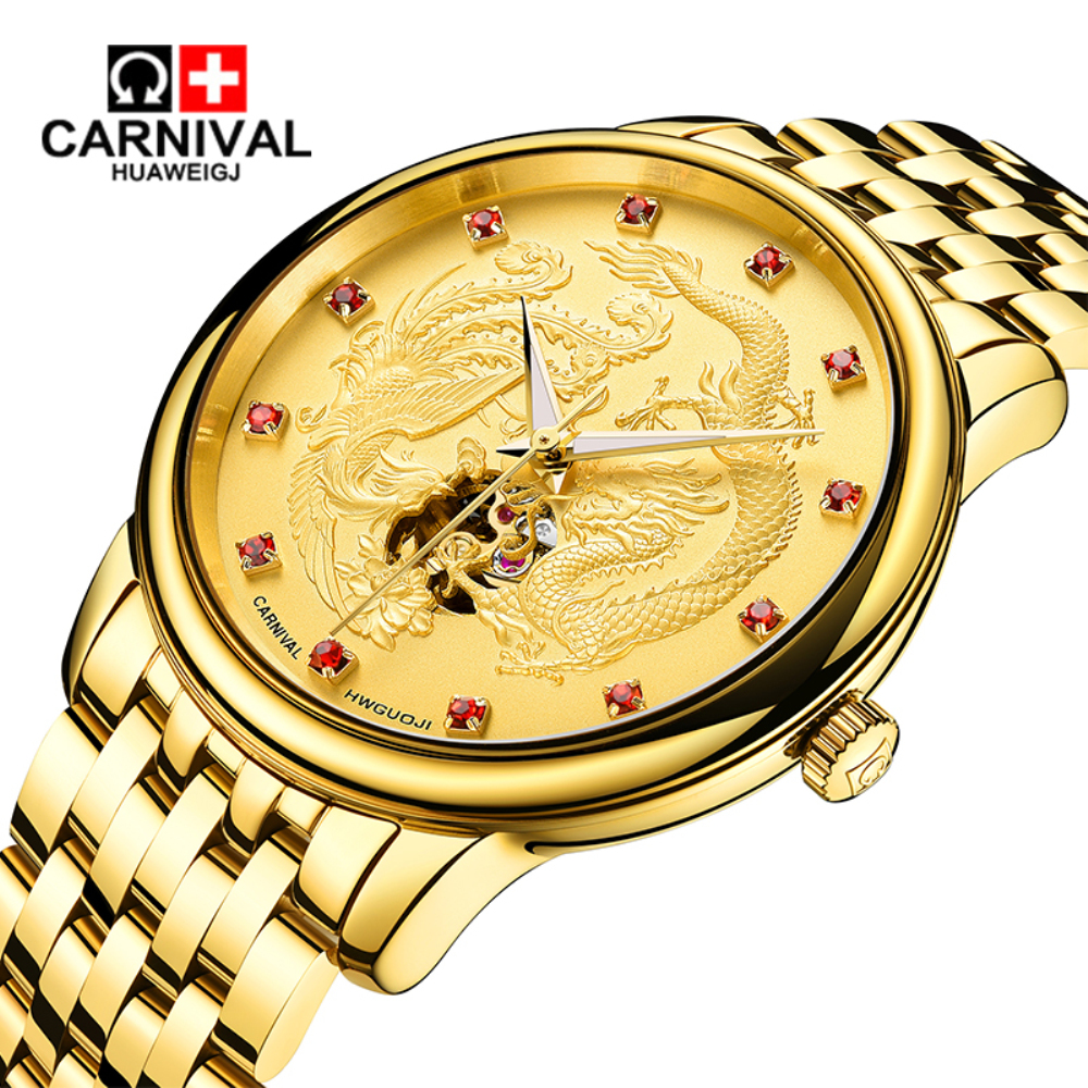 Carnival China Jinlong Fengfei wheel automatic mechanical watch luminous waterproof men 's mechanical watches недорого