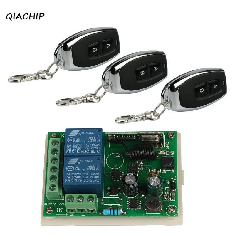 QIACHIP 433Mhz Wireless Remote Control Lamp Switch AC 220V 2CH relay Receiver Module RF Transmitter 433 Mhz Remote Controls H3 2ch 5v wireless remote control light switch receiver relay module 433mhz rf on off switches for lamp light motor gaage door