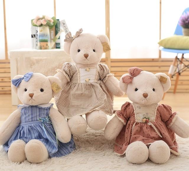 45 CM juguetes para bebé princesa vestido hembra oso de peluche oso de peluche grande oso espera falda oso muñeca de regalo de cumpleaños