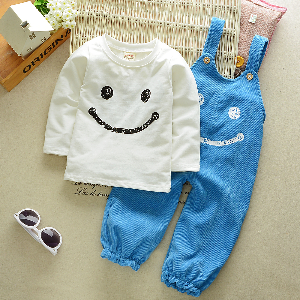 Autumn Children Clothing Sets Baby Girls Boys Cotton Suits Kids Smiling Face T-Shirt Stripe Straps 2pcs Clothes Toddler Suits kids clothing sets cotton children t shirt suits floral skirts baby wear girls sets summer clothes sets for baby girls 2016
