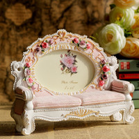 New Europe Classic Wedding Photo Frames Resin Pink Flower Sofa Picture Frame Retro Cadre Photo Decorative