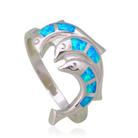 Lovely Dolphins Design 925 Sterling Silver Blue Fire Opal Party Wonderful Jewelry For Women SR3