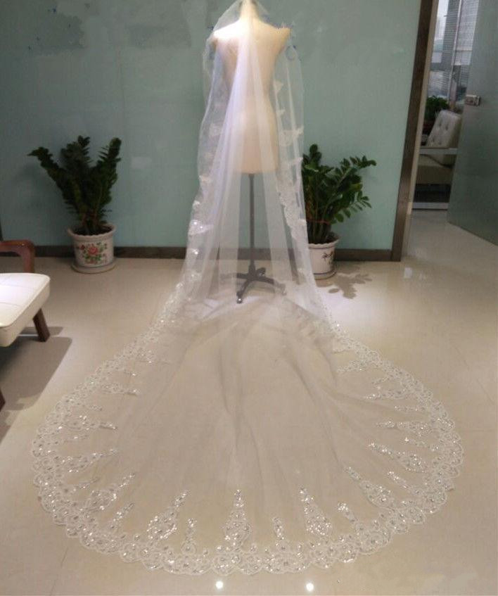 Luxury Shiny Beading Rhinestone Lace Edge Cathedral Length For Wedding Long Bridal Veil 2019 With Comb White Ivory