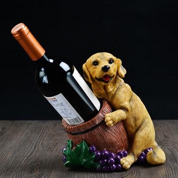 European wine rack shelf Wine dog fashion ornaments red bottle rack cabinet Decor