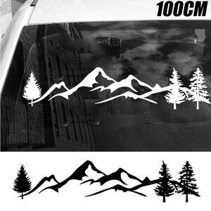 Image 2 - Dla SUV samochód kempingowy Offroad 1pc 100cm czarne/białe drzewo górski wystrój samochodu PET odblaskowe las samochód naklejka naklejka Mayitr