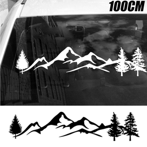 Image 2 - For SUV RV Camper Offroad 1pc 100cm Black/White Tree Mountain Car Decor PET Reflective Forest Car Sticker Decal Mayitr