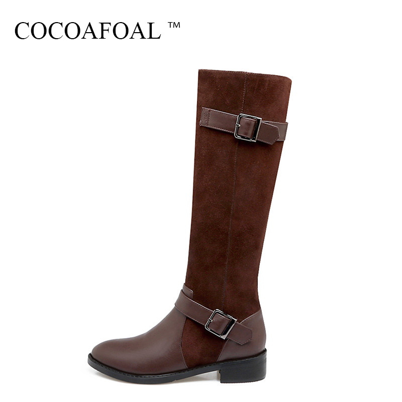 COCOAFOAL Genuine Leather Knee High Boots Winter Nubuck Leather Knee High Boots Fashion Black Women High Heeled Chivalry Boots smile face pattern flashing flat usb male to micro usb male data charging cable black 95 cm