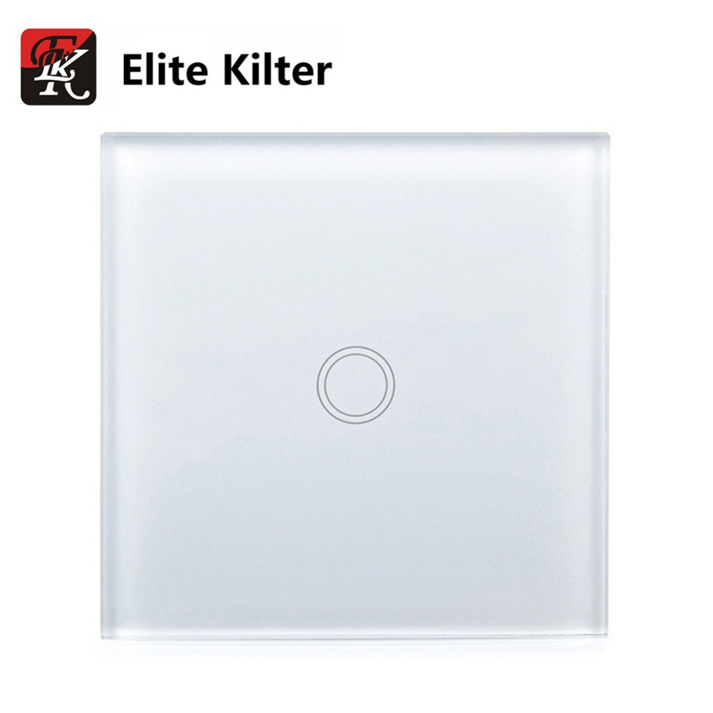 Elite Kilter Touch Switch 1 Gang 1 Way EU/UK Standard Crystal Glass Switch Panel Smart Touch Wall Light Switch AC 170V~240V funry uk standard 1 gang 1 way smart wall switch crystal glass panel touch switch ac 110 250v 1000w for light