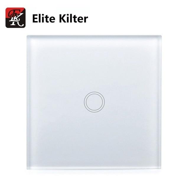 Elite Kilter Touch Switch 1 Gang 1 Way EU/UK Standard Crystal Glass ...