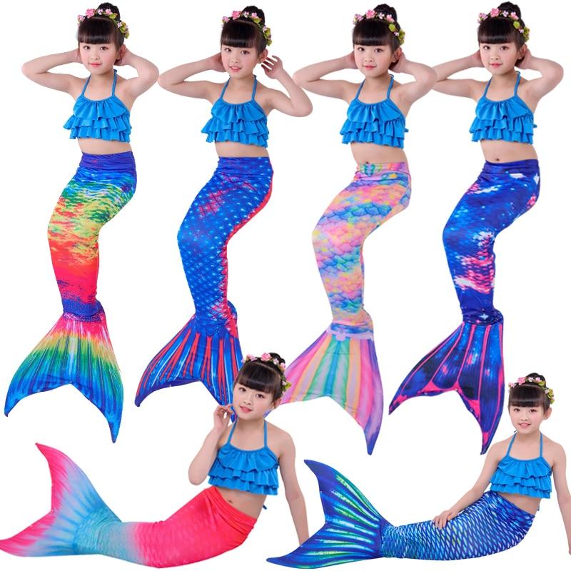 5 pièces/ensemble maillot de bain sirène Bikinis filles queue de sirène avec Monofin enfants porter Split maillot de bain queue de sirène maillots de bain habiller