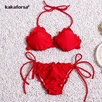 19f34742ffcb Conjunto de Bikini lindo de Kakaforsa 2019 traje de baño para mujeres para  niñas traje de baño ...