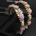 Mujeres Moda Barroca deja cintas para el pelo de la perla rosa púrpura flor diadema accesorios para el pelo de la muchacha partido de los cabritos del regalo de la joyería de la boda
