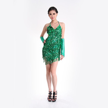 New Arrival 4 Colors Sexy Latin Dance Costume Performance Wear Dancing Dress Women Sequins Tassels Skirts (no hatstick)