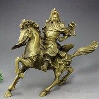 Резные античная бронзовая ремесла лошадь латунь Гун Ву Бог богатства Лаки изгнать злых духов домашнего интерьера украшения
