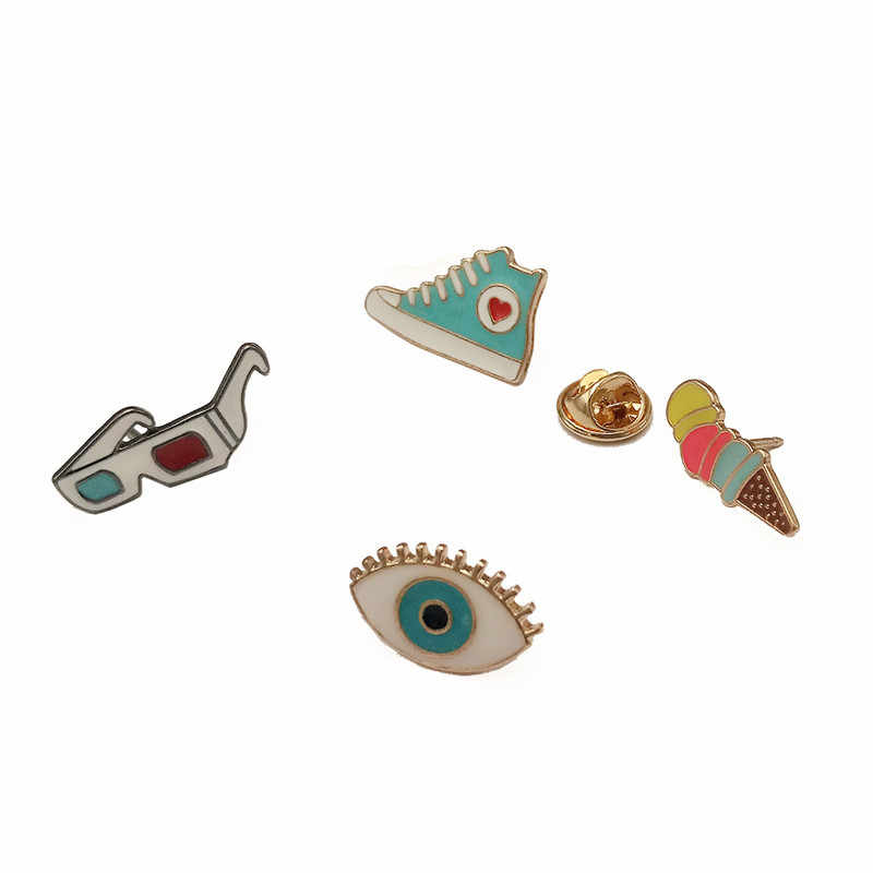 1 PC Metal Brooch Badge  Eyes Sunglasses Shoe Pin Badges Icons on Backpack Badges for Backpack Clothes