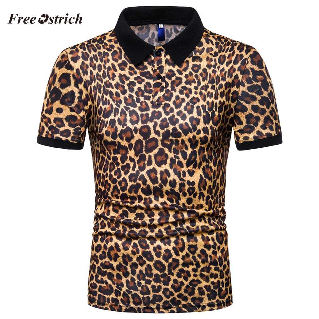 Free Ostrich Men's Polo Shirts Men Sport Style Short Sleeve Shirt Turn-down Collar Shirts Cotton Leopard Print Breathable Tops