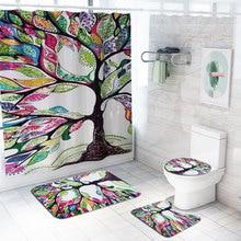 Ручная роспись Дерево принт занавеска для душа 4 шт. набор ковров Крышка для туалета коврик для ванной набор занавесок для ванной 12 крючков