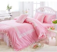 Korean Cotton 3 4pcs Princess Lace Bedspread Spring Summer Bed Skirt Bedding Twin Full Queen King