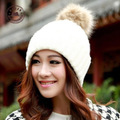 2015 Real Rushed Hats Gorros Balaclava Pure Color Imitation Rabbit Earmuffs Young Ladies Love Candy Soft Knitted Hat [gen-309]