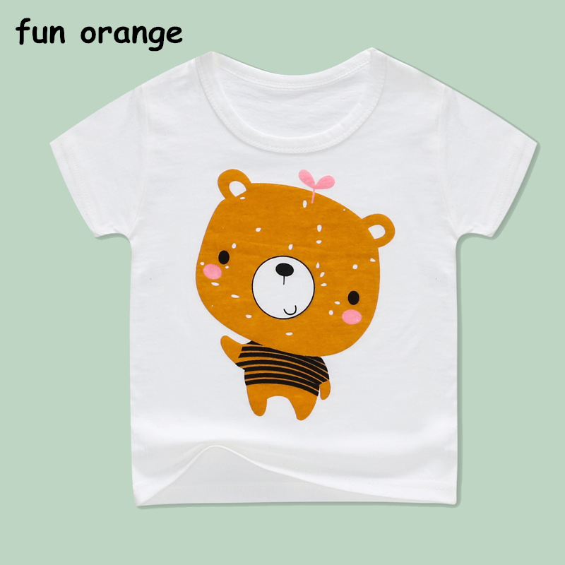 Fun Orange Summer Girls & Boys Short Sleeve T Shirts Cartoon Print T-shirt Tee Shirt Cotton Girls Tops For Kids Clothing cotton blends cartoon bull and letters print round neck short sleeve t shirt