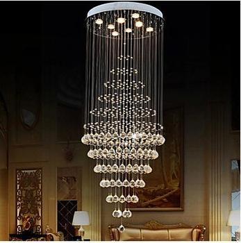 Lüks K9 Kristal sarkıt aydınlatma K9 Lamba Armatürleri 8 Ampuller D60CM H180CM AC 110-220 V Merdiven salonu kolye LED Kristal Lamba